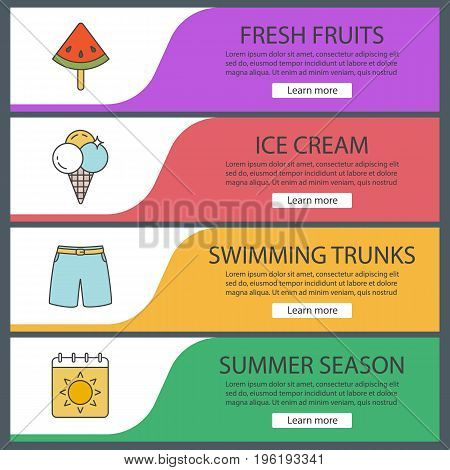 Summer web banner templates set. Watermelon slice on stick, ice cream, shorts, calendar page with sun. Website color menu items. Vector headers design concepts