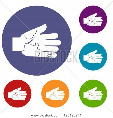 Hand with stains icons set in flat circle red, blue and green color for web