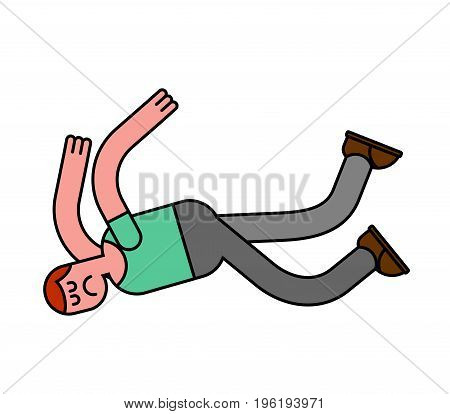 Guy Fall Isolated. Man Falling. Pain And Discontent