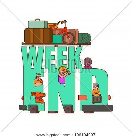 Weekend lettering. Car Family go to camping line style. Things to relax. Bicycles and suitcases. Dog from window. Children and parents go in auto. Family holiday
