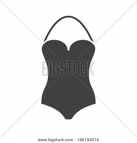 Swimsuit glyph icon. Silhouette symbol. Monokini swim suit. Negative space. Vector isolated illustration