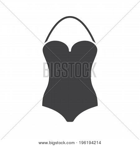 Swimsuit glyph icon. Silhouette symbol. Monokini swim suit. Negative space. Vector isolated illustration