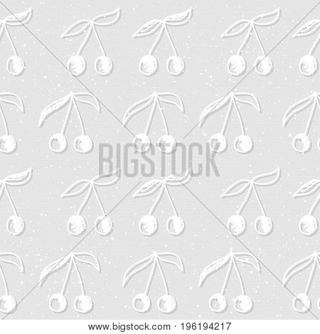 Doodle Cherry Seamless Pattern Background.