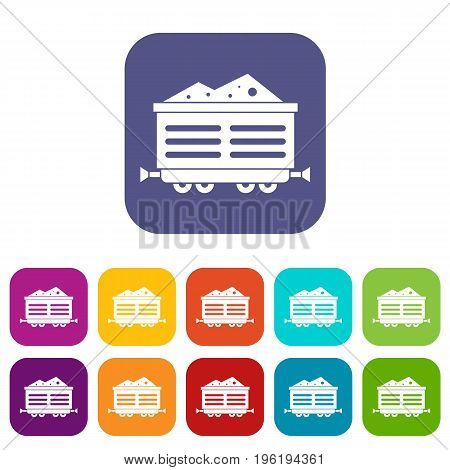 Train waggon with coal icons set vector illustration in flat style in colors red, blue, green, and other