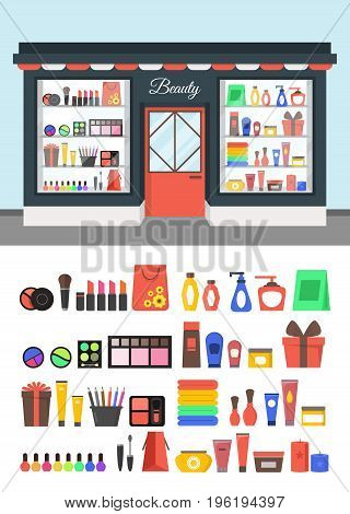 Cartoon Beauty Cosmetics Store Showcase with Products and Element Set for Woman Flat Design Style. Vector illustration