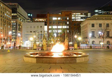 OTTAWA, CANADA - OCT. 30, 2014: Centennial Flame in Parliament Hill, Ottawa, Ontario, Canada.