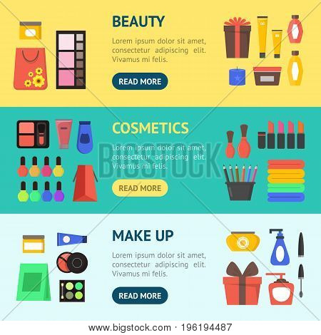 Cartoon Beauty Cosmetics Store Banner Horizontal Set with Products and Element Set for Woman Flat Design Style. Vector illustration