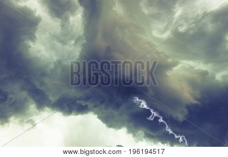 clouds and thunder lightnings and storm, summer night