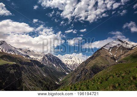 Beautiful views of Truso gorge Kazbegi district Mtskheta, Georgia.