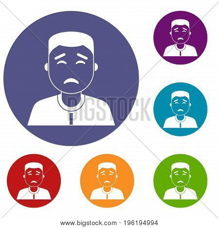 Asian man icons set in flat circle red, blue and green color for web