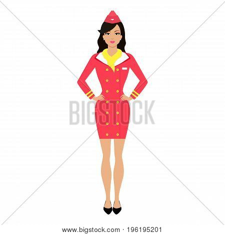 Vector illustration of a cartoon stewardess girl in uniform. Isolated white background. Fashionable women air hostess. Flat style.
