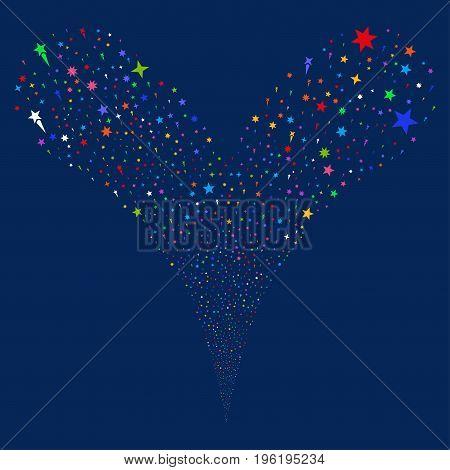 Confetti Stars fireworks stream. Vector illustration style is flat bright multicolored iconic confetti stars symbols on a blue background. Object fountain done from random symbols.