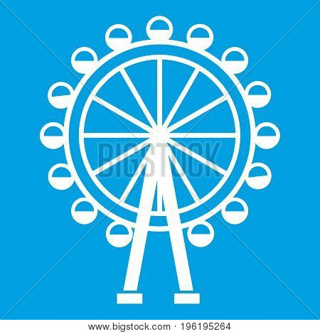 Ferris wheel icon white isolated on blue background vector illustration