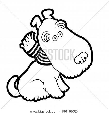 Cute cartoon terrier wearing a scarf vector draving