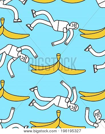 Fall on banana seamless pattern. Slip on banana peel background. guy flopped ornament. Man fell texture