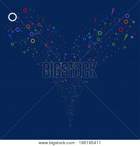 Confetti Stars source stream. Vector illustration style is flat bright multicolored iconic confetti stars symbols on a blue background. Object fountain constructed from random symbols.