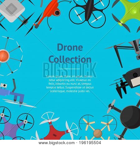 Air Drone Color Drone Banner Card Innovation Technology Control Concept Flat Design Style. Vector illustration