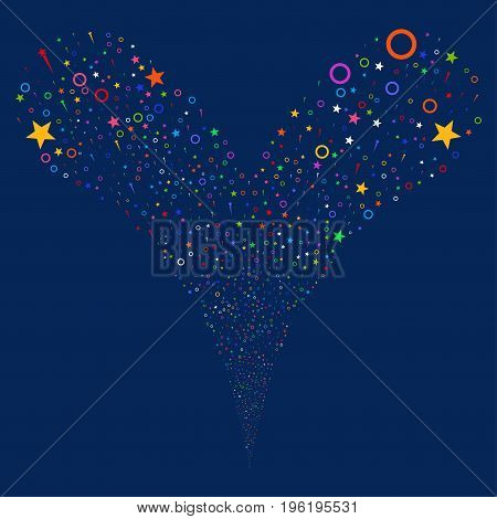 Confetti Stars explosive stream. Vector illustration style is flat bright multicolored iconic confetti stars symbols on a blue background. Object fountain created from random pictographs.