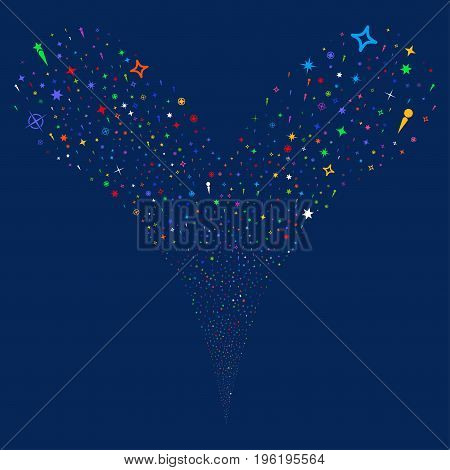 Confetti Stars source stream. Vector illustration style is flat bright multicolored iconic confetti stars symbols on a blue background. Object fountain made from random design elements.