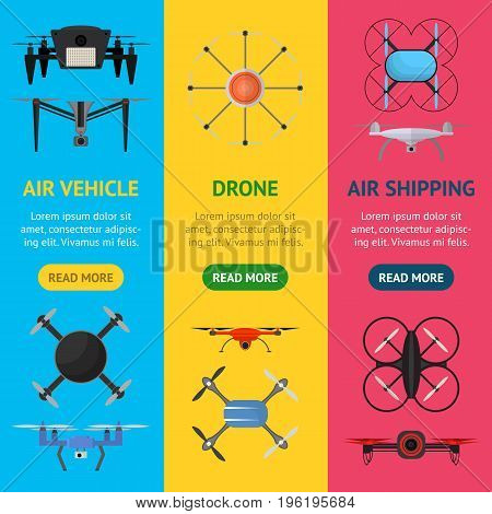 Air Drone Color Drone Banner Vecrtical Set Innovation Technology Control Concept Flat Design Style. Vector illustration
