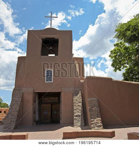 A View of San Miguel Mission or Chapel in Santa Fe New Mexico the oldest known church in the continental United States.