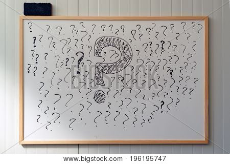 Many question marks on office whiteboard uncertainty and unpredictability in business