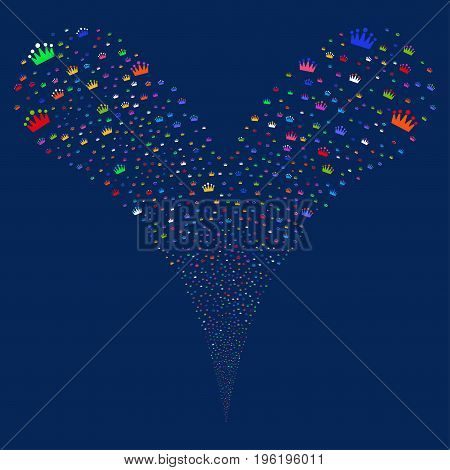 Crown source stream. Vector illustration style is flat bright multicolored iconic crown symbols on a blue background. Object fountain made from random design elements.