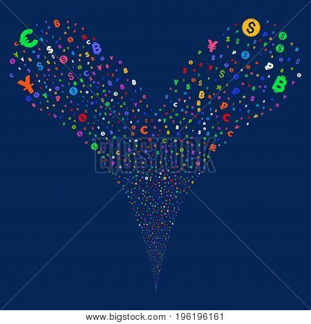 Currency Symbols fireworks stream. Vector illustration style is flat bright multicolored iconic currency symbols symbols on a blue background. Object fountain combined from random symbols.