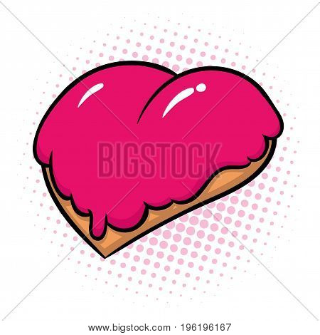 donut in form of heart with pink glaze