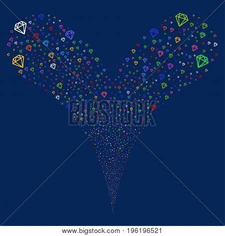 Diamond fireworks stream. Vector illustration style is flat bright multicolored iconic diamond symbols on a blue background. Object fountain constructed from random pictograms.