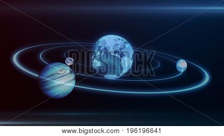 3D Illustration Of Solar System Planets And Objects In Space In Triangles