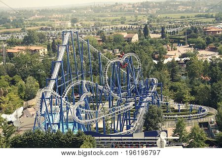 Rollercoaster. the attractions on the background of nature Gardaland; Italy.