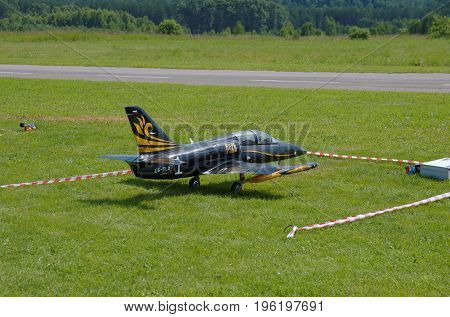 PENZA OBLAST, RUSSIA - JULY 15, 2017: Radio control flying model of Aero L-39 Albatros aircraft. The Russian Aeromodelling Cup in Bolshoy Vyas village.