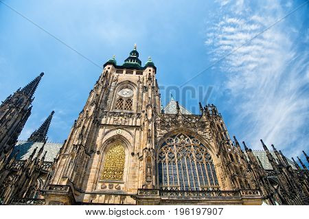 St. Vitus Cathedral in Prague Czech Republic famous historical building against blue sky