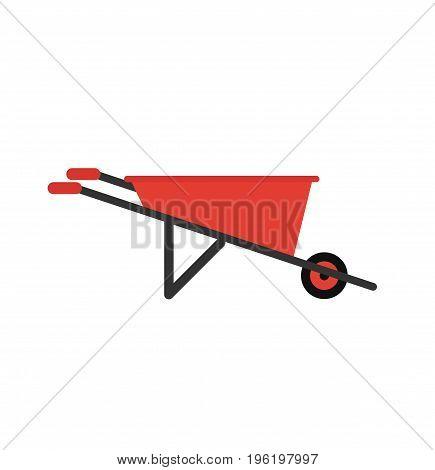 Wheelbarrow icon sign. Wheelbarrow isolated. Vector stock.