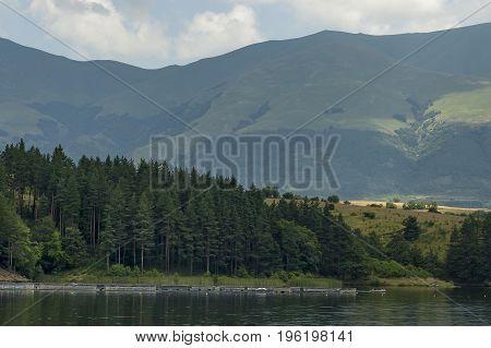 Environment of the dam, reservoir or barrage   Dushantsi at river Topolnitsa,  Central Balkan mountain, Stara Planina, Bulgaria