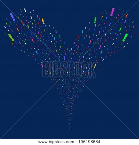 Exclamation Sign source stream. Vector illustration style is flat bright multicolored iconic exclamation sign symbols on a blue background. Object fountain organized from random pictograms.