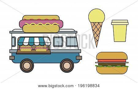 Hot Dog Van Illustration Of Street Food. Hamburger, Coffee, Ice-cream, Take Away. Line Art Design.