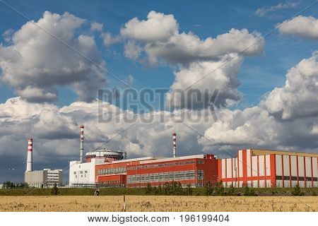 Nuclear power plant Temelin in the Czech Republic. Operating buildings and control rooms. Clouds of steam derailing from a nuclear power station tower.