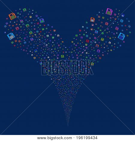 Floppy Disk explosive stream. Vector illustration style is flat bright multicolored iconic floppy disk symbols on a blue background. Object fountain constructed from random pictograms.