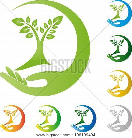 Hand and plant, tree, wellness and nature logo