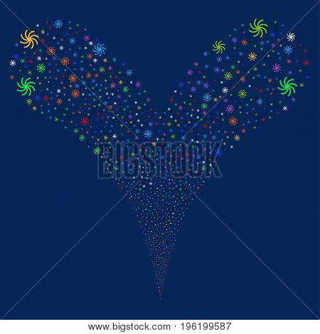 Galaxy source stream. Vector illustration style is flat bright multicolored iconic galaxy symbols on a blue background. Object fountain organized from random icons.