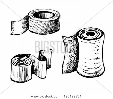 Paper in rolls of different shapes and purposes. Molar Scotch tape. Toilet paper and towels. Vector sketch drawn by hand.
