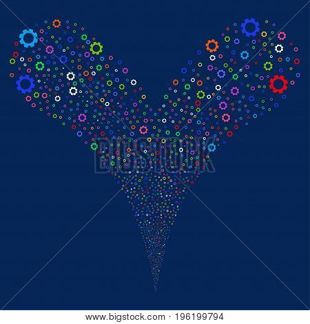 Gear explosive stream. Vector illustration style is flat bright multicolored iconic gear symbols on a blue background. Object fountain organized from random pictograms.