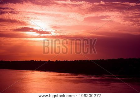 Beautiful landscape at sunrise or sunset on Danube river in Serbia.