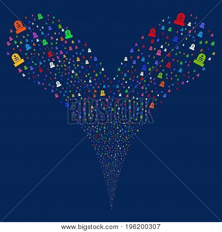 Grave fireworks stream. Vector illustration style is flat bright multicolored iconic grave symbols on a blue background. Object fountain created from random pictographs.