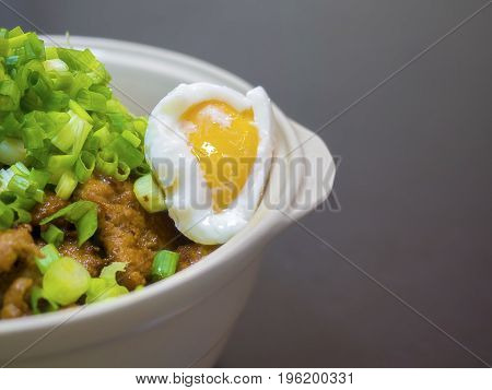 Close up image.Japanese traditional dish Gyudon (or Butadon) made from thinly sliced beef (or pork), onion, soy sauce, Onsen Tamago (temperature egg which is originally slow cooked in the water of onsen hot springs in Japan) and rice.
