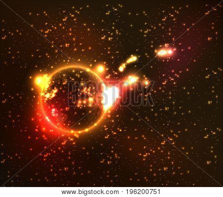 The explosion of the planet in the cosmos, vector art illustration planet on fire.