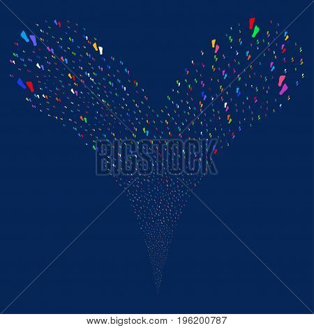Human Footprints fireworks stream. Vector illustration style is flat bright multicolored iconic human footprints symbols on a blue background. Object fountain organized from random icons.