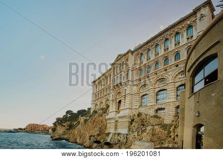 Wiew of Oceanographic Institute museum in Principality of Monaco